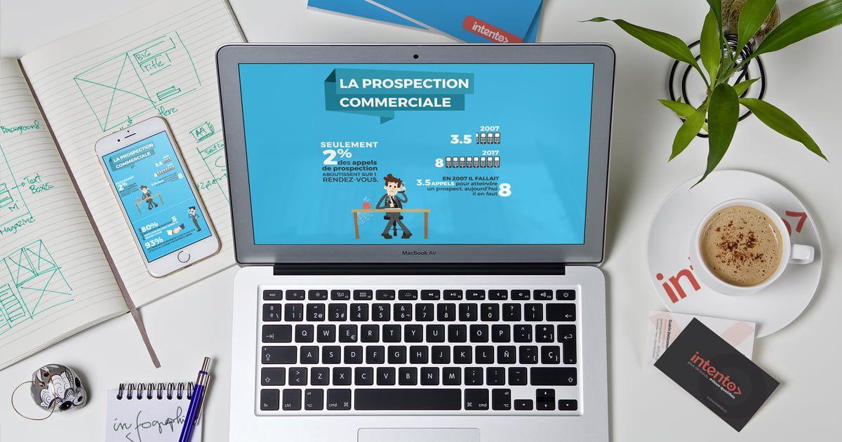 vue plongeant sur un bureau chargé avec un smartphone et un ordinateur portable montrant la même infographie