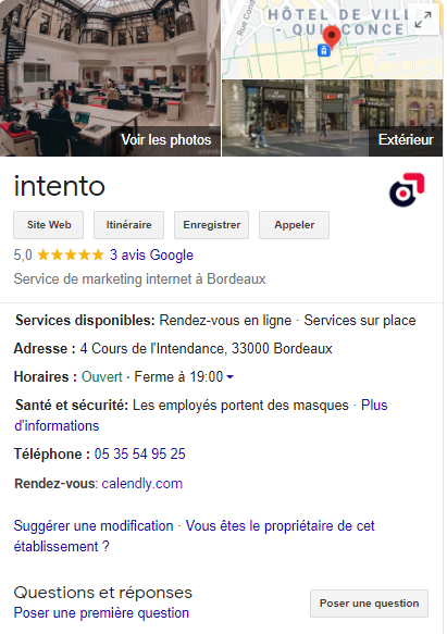 Fiche Google My Business intento