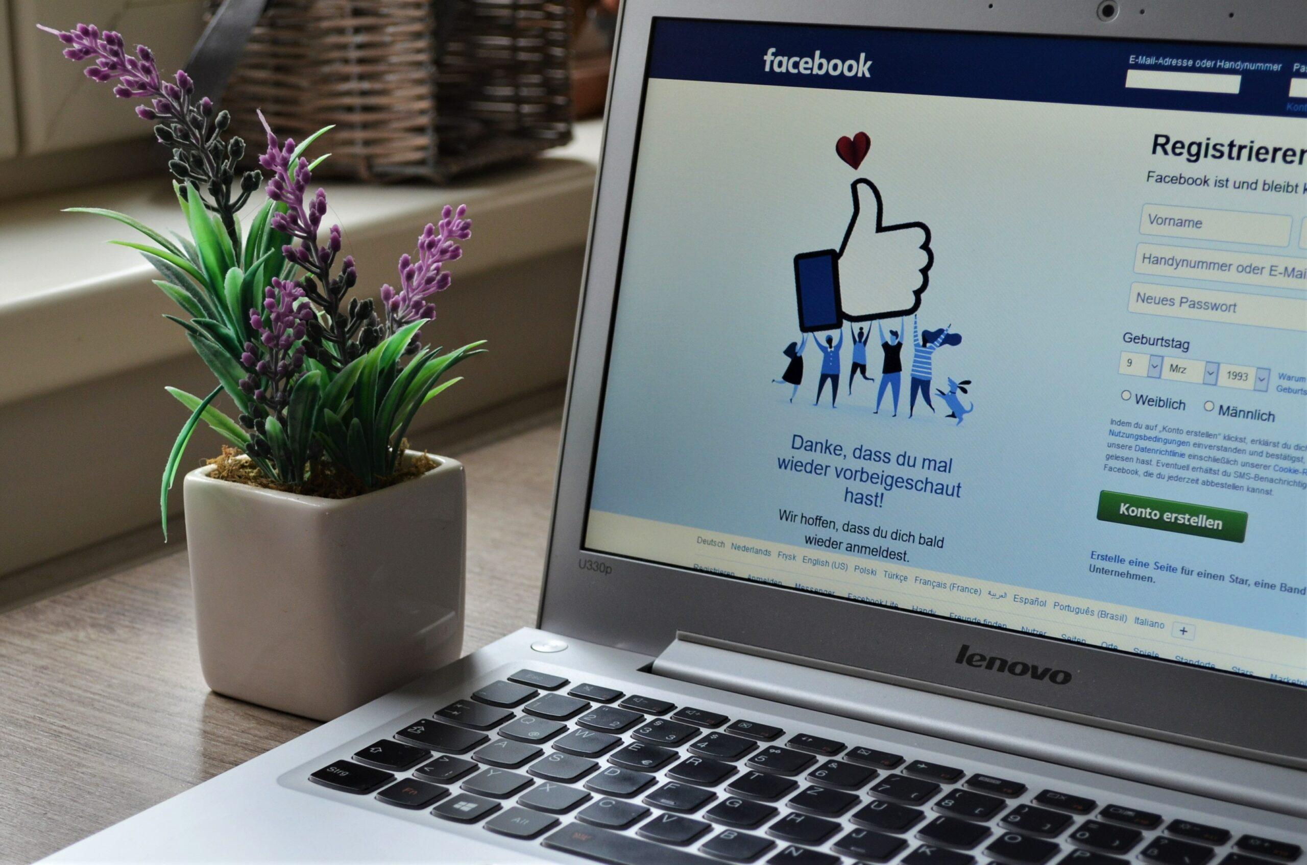 Facebook homepage on laptop screen